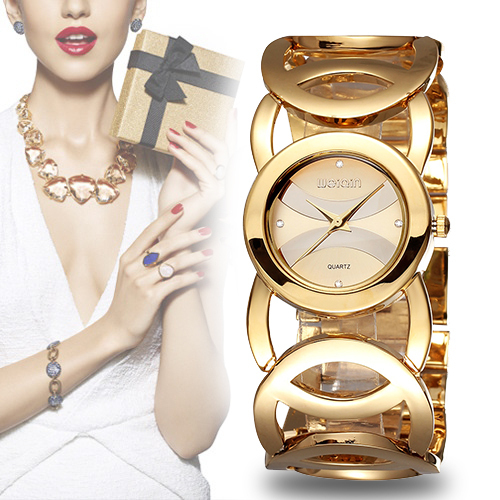 WEIQIN Brand Luxury Crystal Gold Watches Women Fashion Bracelet Quartz Watch Sho
