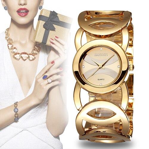WEIQIN marca de lujo de cristal de oro relojes mujeres moda pulsera cuarzo reloj choque impermeable Relogio Feminino orologio donna