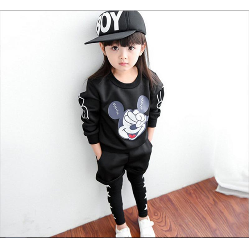 2017 spring Children Mickey Clothing baby boys girls fashion sets kids sweatshirts+short pants+Leggings boys girls clothes sets
