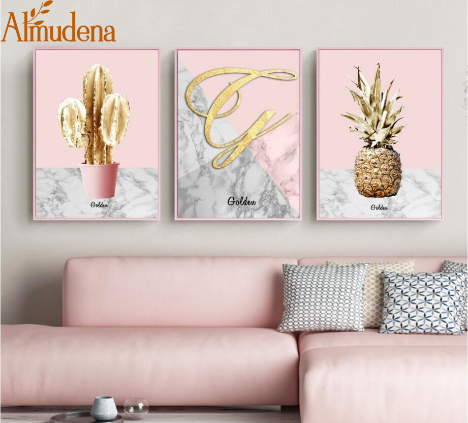 ALMUDENA Unframed 3 Panel Nordic Poster Pink Gold