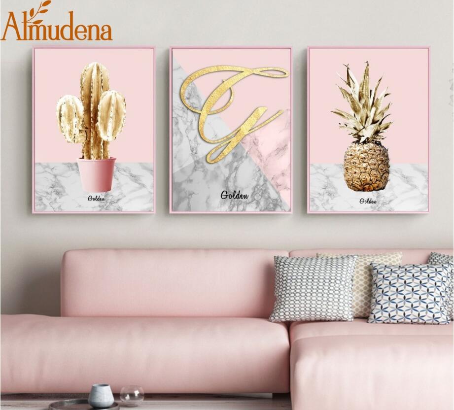 2 61 48 De Reduction Nordique Rose Or Ananas Affiche Dore Cactus Toile Peintures Pour Salon Moderne Decoration De La Maison Mur Art Photos In