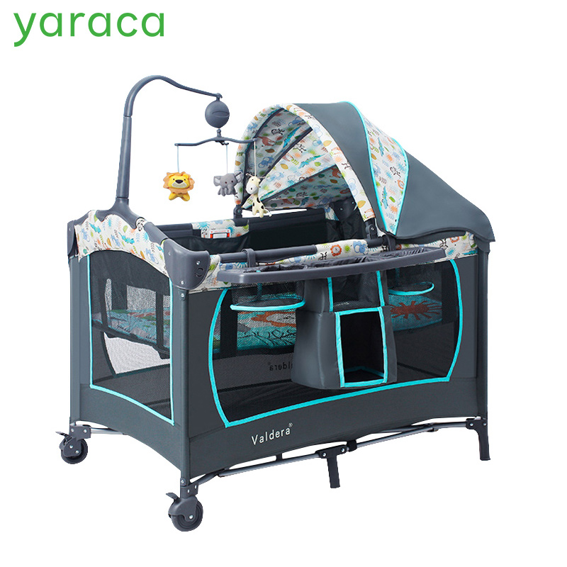 Portable Baby Crib Multifunctional Folding Baby Bed with Diapers Changing Table Travel Child Game Beds For