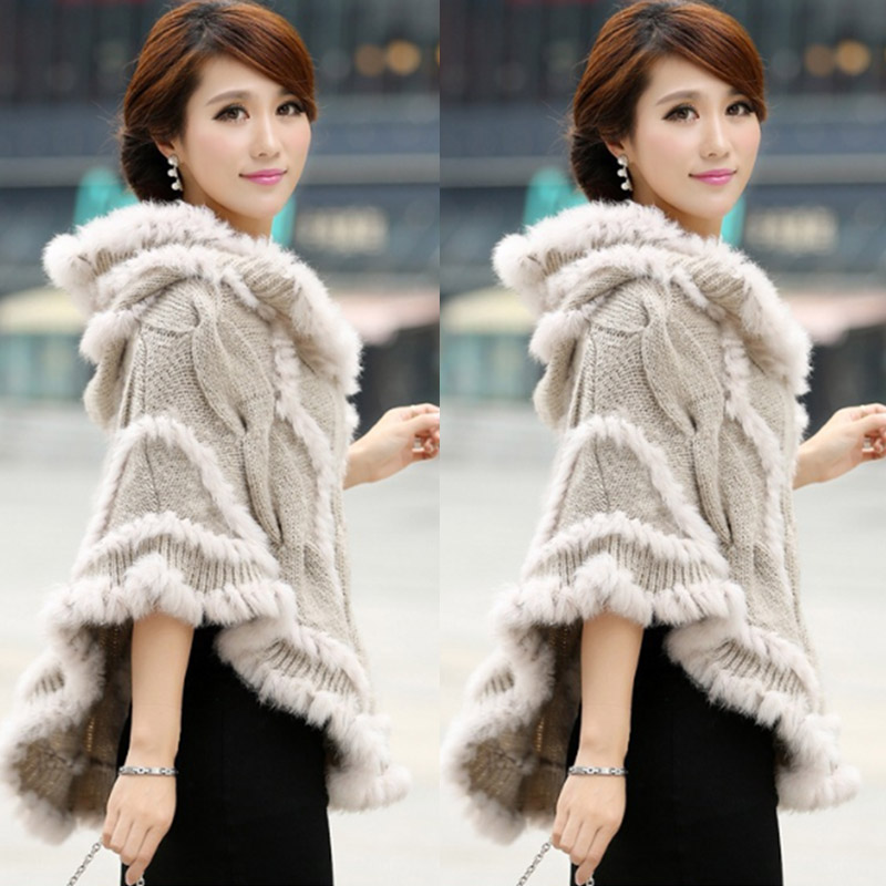 Outerwear Cloak Knitted Autumn Winter Women And Fur with Hood Cape Twisted Rabbit-Fur