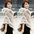 Free shipping!!!!!2015 autumn and winter women fur twisted knitted rabbit fur cape noble elegant outerwear with a hood cloak
