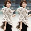 Frete grátis! 2015 outono e inverno das mulheres de pele de coelho malha capa de pele nobre elegante outerwear com capuz casaco