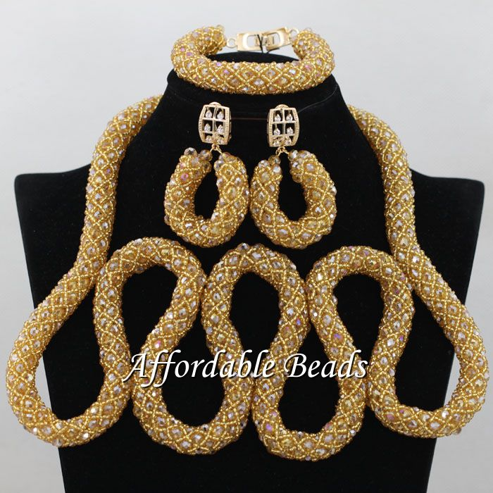 Champagne African Necklace Sets Glamorous Nigerian Beaded Jewelry Unique Style Wholesale NCD115Champagne African Necklace Sets Glamorous Nigerian Beaded Jewelry Unique Style Wholesale NCD115