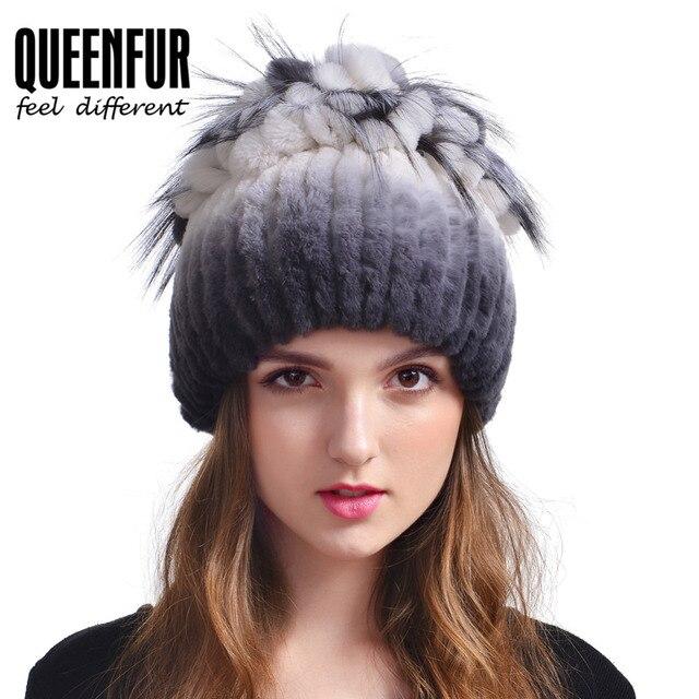 Real Punto Rex Rabbit Fur Hat Para Mujeres de La Manera Natural de Zorro Tapa Tapa de La Flor Gorros de piel 2016 Nueva Rusia Señora Genuino de la Piel Cap