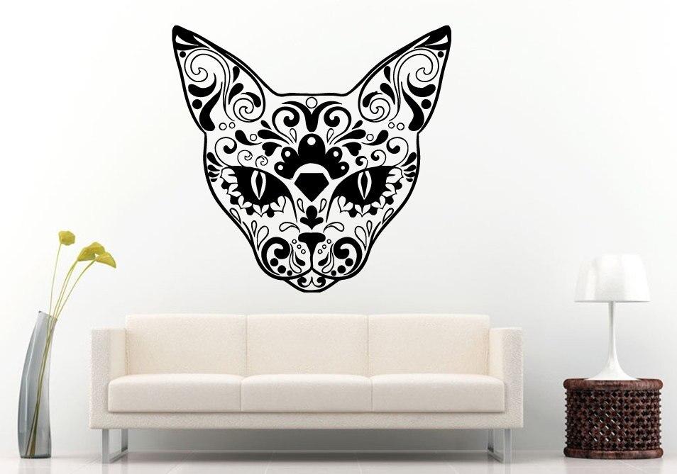 ▽Arte Decoración para el hogar azúcar cráneo diseño Cabeza del gato ...
