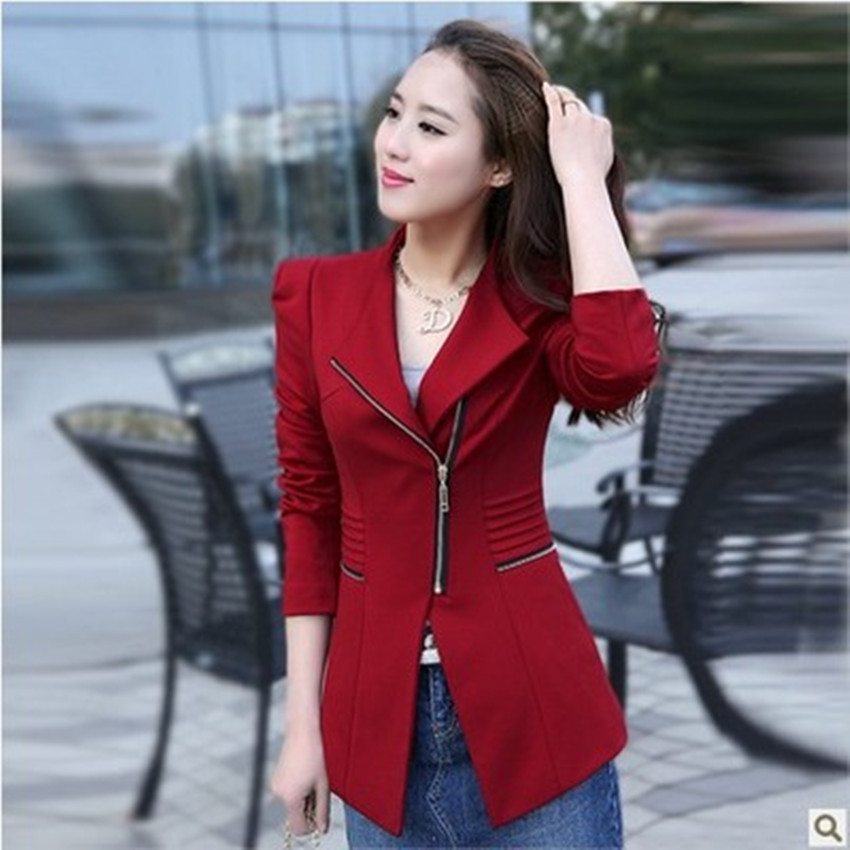 Ladies Coat Spring And Autumn New Style Women's Korean Long-sleeved Zipper Temperament Commuter Slim Small Suit Jacket Female