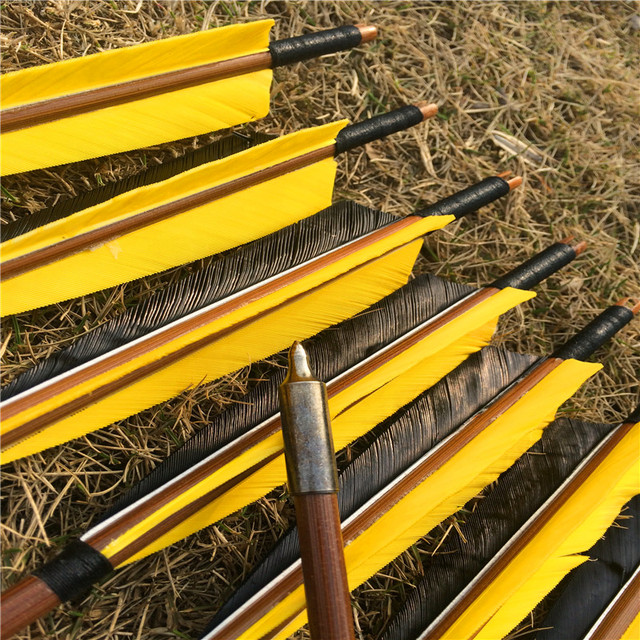 6/12/24 pcs 32 Handmade Bamboo Arrows For Recurve Longbow Hunting  Archery