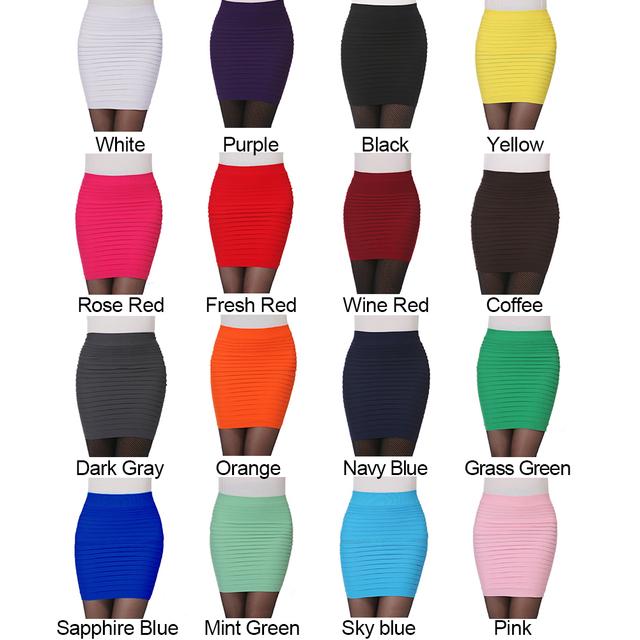 New Women Mini Pleated Elastic Short Skirt Pencil Skirt Bodycon Slim Skirt Seamless Tight Fitted Skirt
