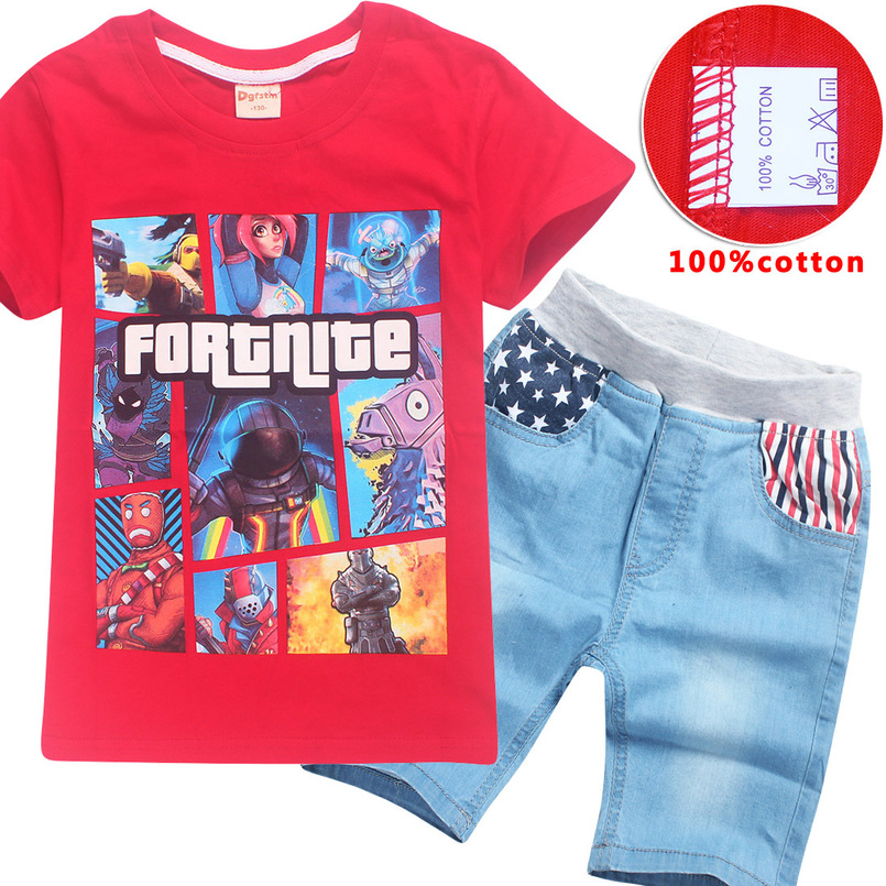 Fashion Games Fortnite Style Short Sleeve O Collar Boy T-Shirt Girl Summer Pants For Kids Clothes Set