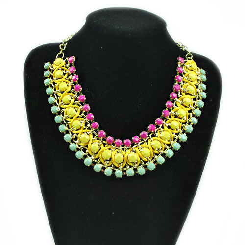 N00308 New Fashion Elegant Charm Multilayer gem Rhinestone Bead Hand-woven Chain choker bib collar Necklace jewelry for women