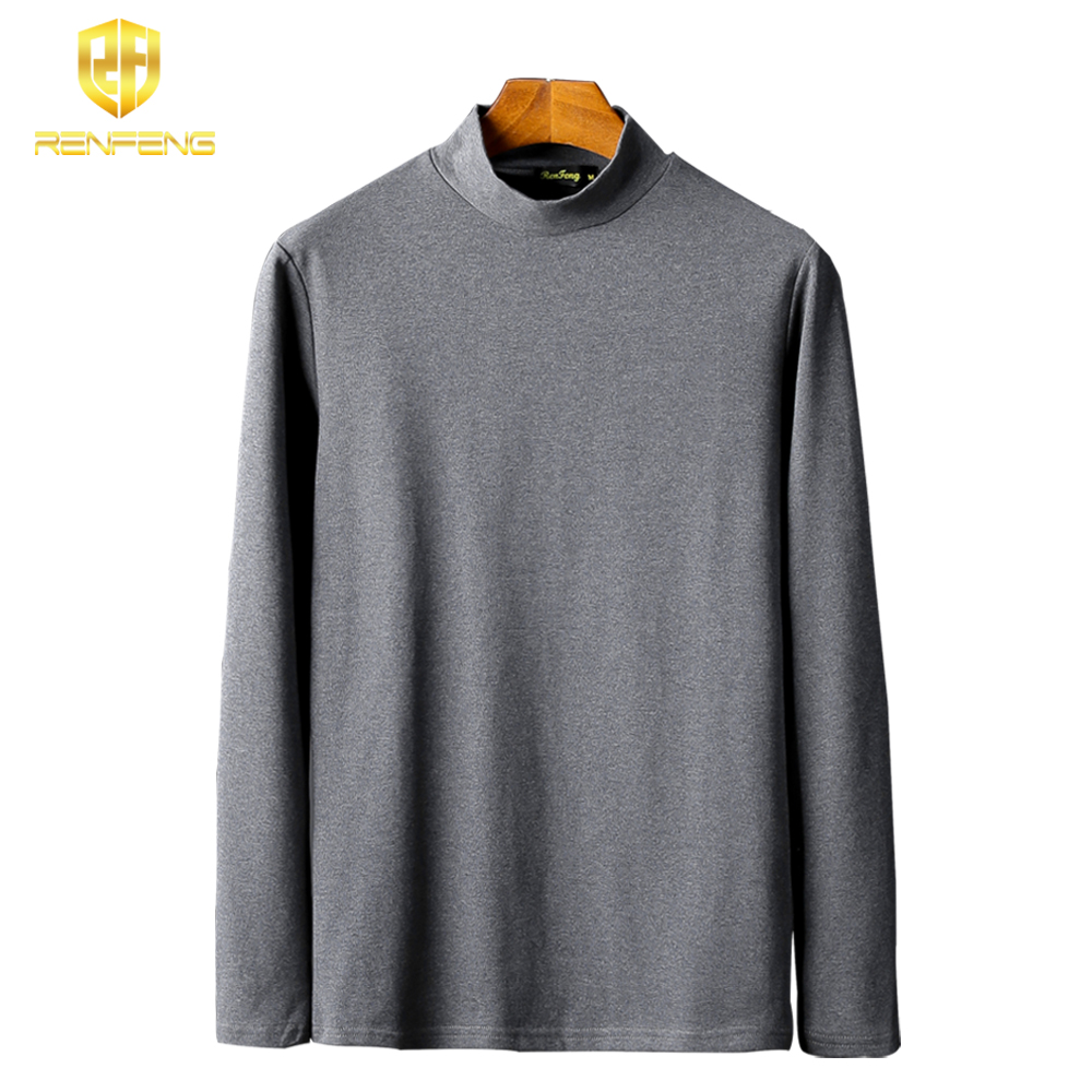 Pack of 5 Men's Cotton Undershirts Man Underwear Long leeved Undershirt Winter High Neck Shirts Spandex Thermal Solid T Shirts (11)
