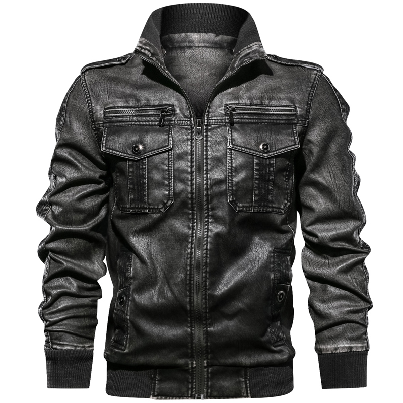 Military Army Mens Motorcycle Leather Jackets Coats Stand Collar Multi-pocket Pu Leather Coat European size S-XXL Dropshipping 6