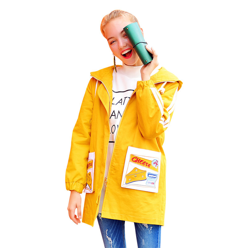 Women Long Coats Hooded Yellow Loose Thick Warm Parka Cotton Cheese Embroidery Zipper Winter New Design