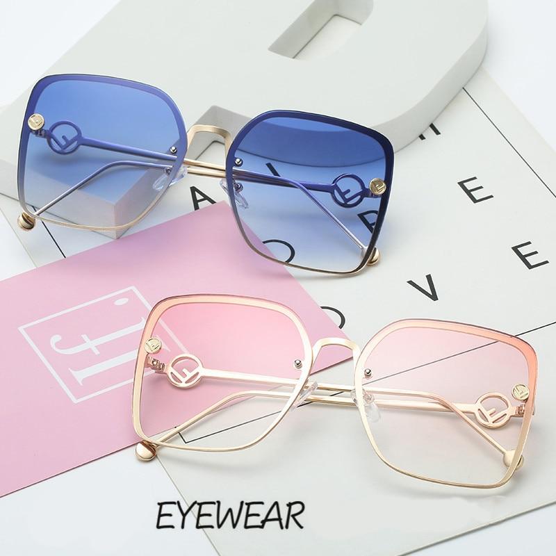New Luxury Italy F Brand Designer Elegant Lady Square Sunglasses Women Vintage Metal Frame Sun Glasses For Female UV400 oculos