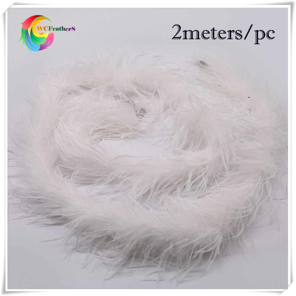 White craft feathers bulk - Hot Sale 2meters Long High Quality Dyed White Ostrich Feather Boa With Turkey Feather Boa Inside