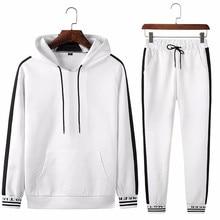 Демисезонный спортивный костюм для фитнеса, спортивные костюмы мужские толстовки с капюшоном черно белый комплект, повседневная мужская одежда из 2 предметов, Толстовка и спортивные штаны