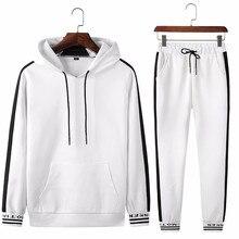 Ropa deportiva de primavera y otoño para hombre chándal con capucha de hombres, conjuntos de ropa informal en blanco y negro, sudadera + pantalones de chándal de 2 piezas