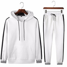 Spring Autumn Sportswear Fitness Tracksuit Men Hoodies Black And White Sets Casual Mens Clothing 2 PC Sweatshirt+SweatPants