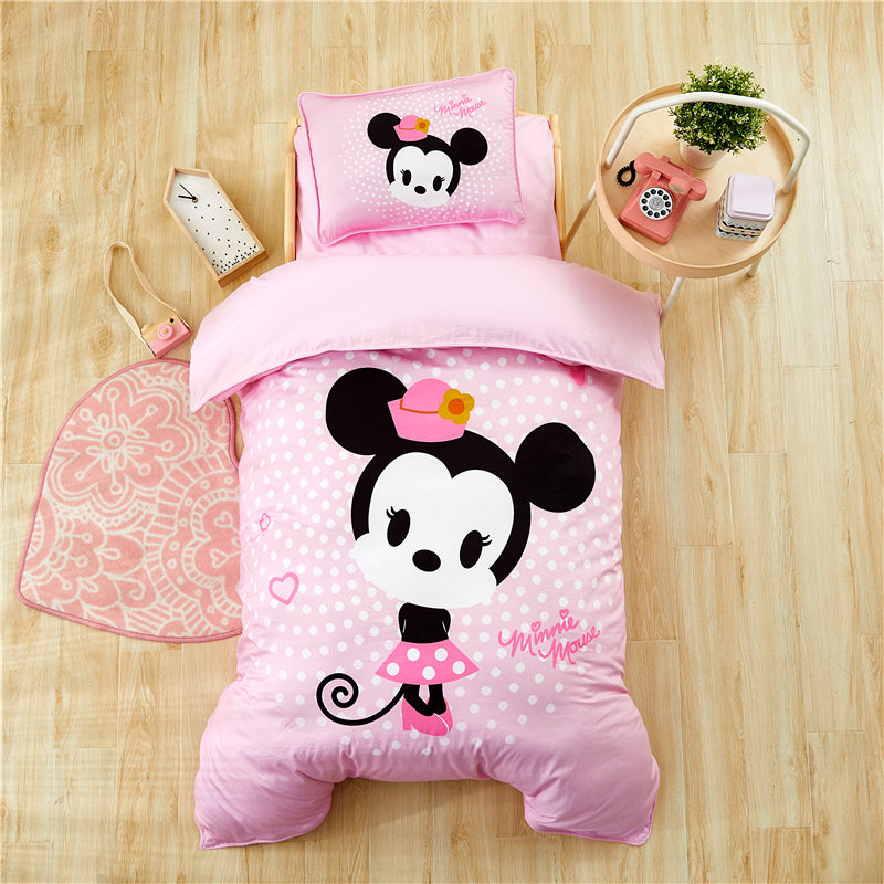 Image 5 - Disney Cartoon Minnie Mickey Bedding Set for Baby Crib Bed 3Pcs Duvet Cover Bedsheet Pillowcases for Baby Boys Girls 0.6m Bed-in Bedding Sets from Mother & Kids