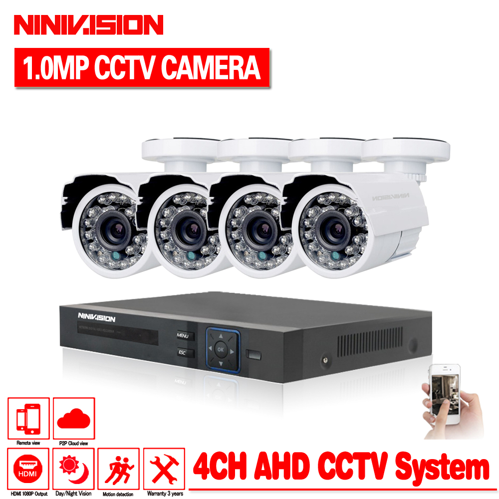 4CH CCTV System 720P HDMI AHD CCTV DVR 4PCS 1 0 MP IR Outdoor Security Camera