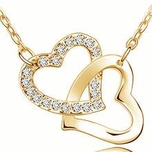 AAAA+ двойное сердце со стразами ожерелье модное ювелирное изделие подарок на свадьбу Высокое качество Прямая поставка романтическое милое сверление