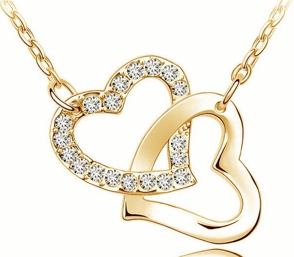 AAAA + حجر الراين مزدوج القلب قلادة قلادة الأزياء والمجوهرات هدية الزفاف أعلى جودة مجانا دروبشيبينغ الحفر لطيف رومانسية