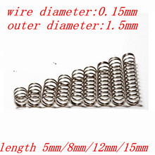 20pcs wire diameter 0.15mm compression spring  outer diameter 1.5mm, length 3mm/4mm/5mm