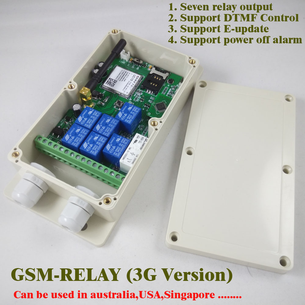 3G Version / GSM Seven relay output remote switch board (SMS Relay switch) Battery on board for power off alarm