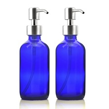 2 X 250ml Cobalt Blue Glass Liquid Soap Dispenser Bottle W/ Stainless Steel Pump for Hand Sanitizer Kitchen Bathroom Lotion 8 Oz