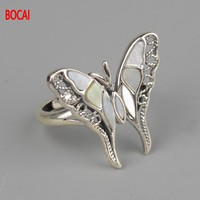 S925 silver inlay butterfly shell opening ring wholesale Retro