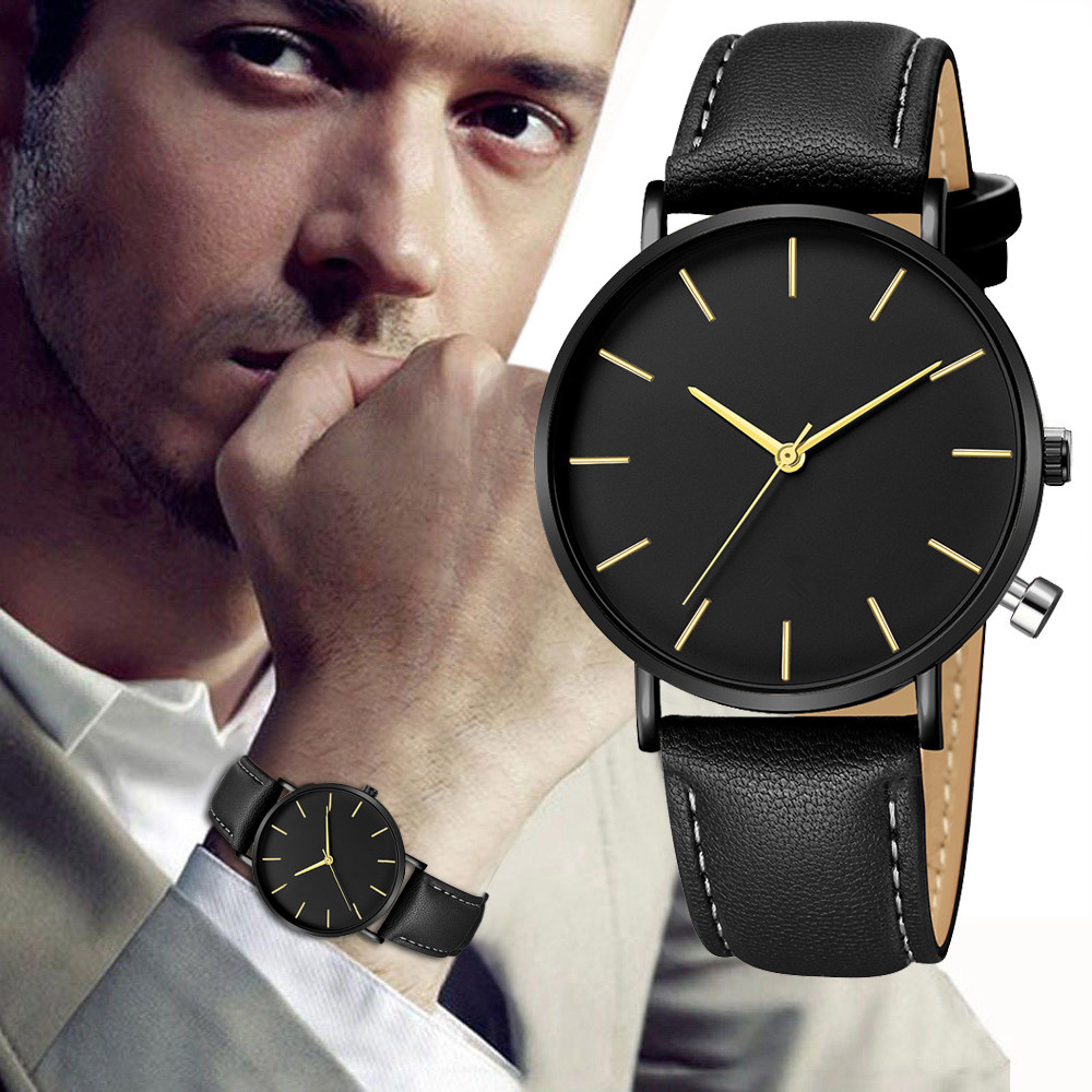 Top Brand Luxury Casual Watches Men Clock Geneva Fashion Men Date Alloy Case Synthetic Leather Analog Quartz Sport Watch 2019 Men's Watches