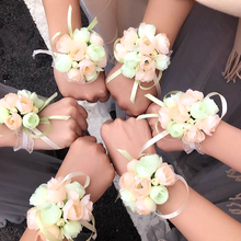 Wedding Party Decor Wrist Fl ower Bride Girl Bridesmaid Floral Hand Wrist Corsage Adjustable Ribbon Rose Bracelets Bridal Prom S involight fl s