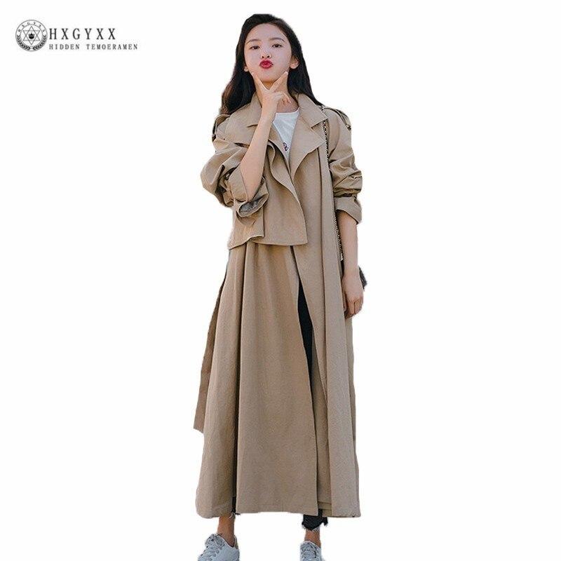 Hongkong Style Khaki Windbreaker Female Mid Length Autumn Overcoat 2019 New Loose Slim Clothes   Trench   Coat For Women Tops J055