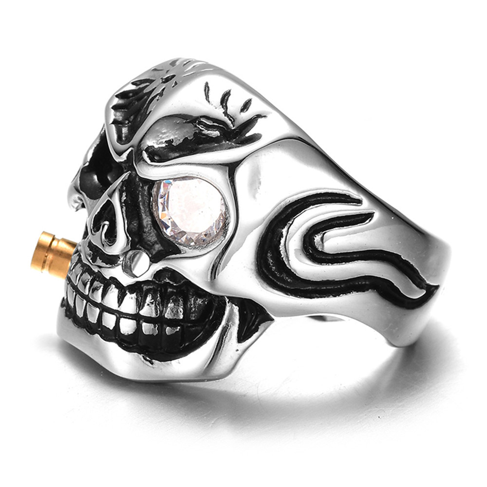 Qevila New Fashion Punk Domineering Smokes Skull Head Finger Ring For Men Knuckle Gothic Jewelry Silver Color Biker Rings Male (4)