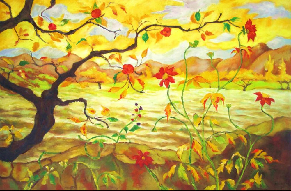 Landscape Painting Apple Tree With Red Fruit Paul Elie