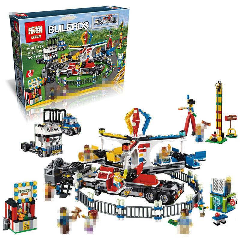 LEPIN 15014 1858PCS Genuine Creator Street Series The Amusement Park Giant Stride Carnival Set 10244 Building Blocks Bricks Toys lepin 15014 1858pcs amusement park carnival model building kits blocks bricks creator legoinglys 10244 architecture toys gift