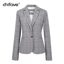 chifave Elegant Office 2018 Autumn Plaid Blazer Women Single Button Slim Blazer Long Sleeve Waist Suit Jacket Female Casual Coat
