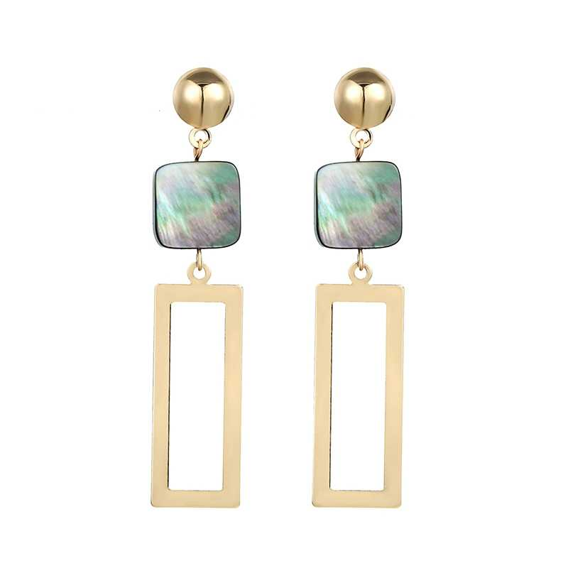 Korean New Geometric Square Shell Rectangular Metal Sequins Drop Earrings For Women Long Statement Earings Fashion Jewelry 2019