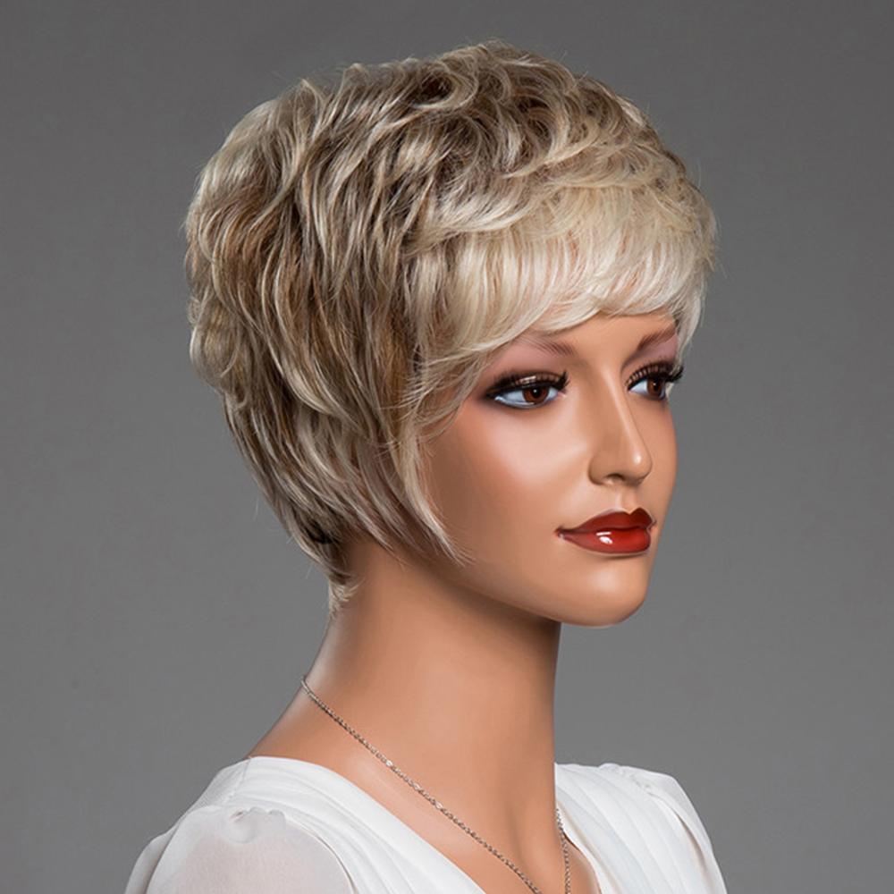 BLONDE UNICORN Synthetic 6 Inch Pixie Cut Short Straight 50% Human Hair Wig Fluffy Multi-Layered Ombre Brown Hair Blend Wig
