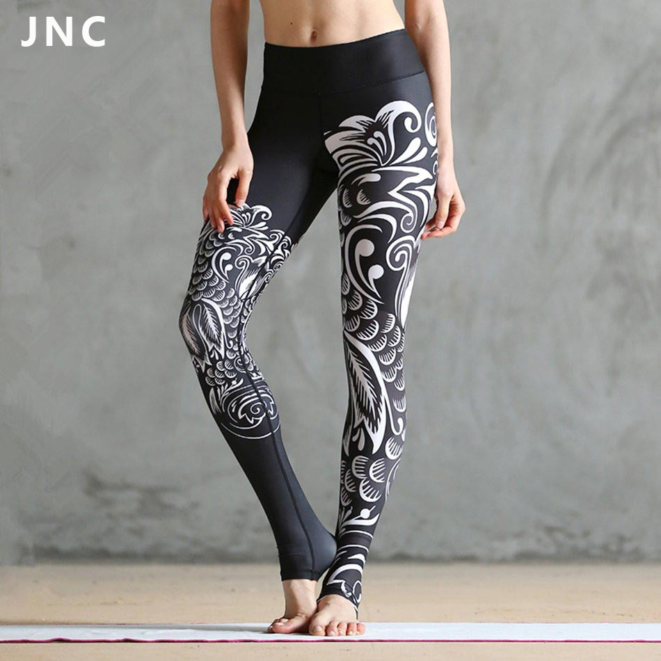 524490a970a83 JNC Women Black Printed Ployster Yoga Leggings Goddess Tights Clouds Printed  Yoga Tights Artists Shape Workout Bottoms
