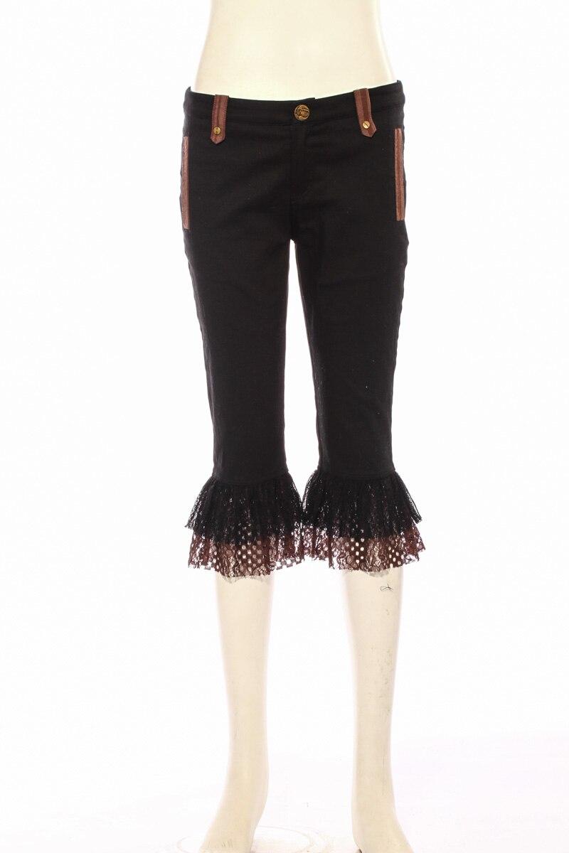Dentelle Steampunk Black Pantalon Vintage Lady Patchwork Cut longueur Gothique Boot Cour Noir Veau Femmes rqZrw0O