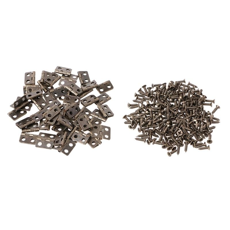 50Pcs 24x17mm Furniture Hinge Cabinet Hardware Box Jewelry For Hinges Decorative #0305#