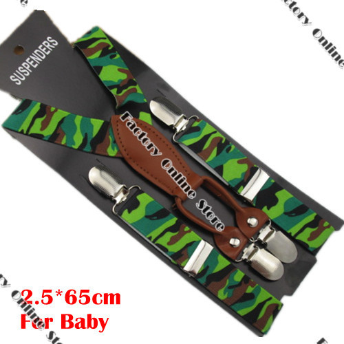 BD044--Fashion camouflage suspenders for baby 4 clips-on braces Pu Leather suspenders for 1-8 boys and girls