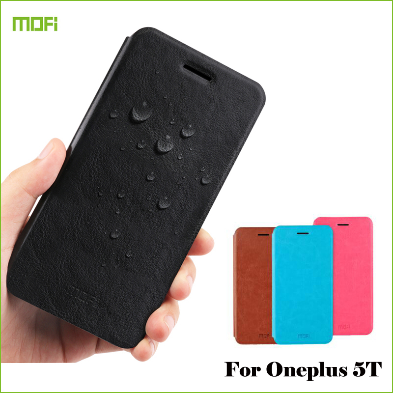 Mofi For OnePlus 5T 5 T Case Book Flip PU Leather Cell Phone Cover For OnePlus 5T Stand Phone Cases