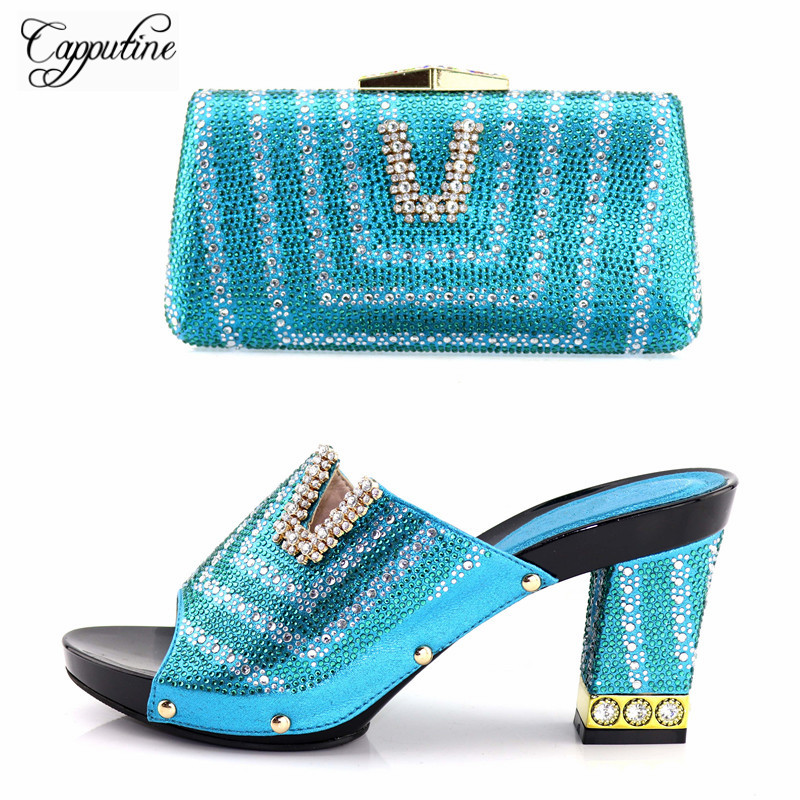 Capputine New Fashion African Wedding Shoes And Bag Set Nigerian Full Rhinestone High Heels Slipper Shoes And Matching Bags Set capputine new arrival rhinestone slipper shoes and matching bag set africa style high heels shoes and bag set evening party