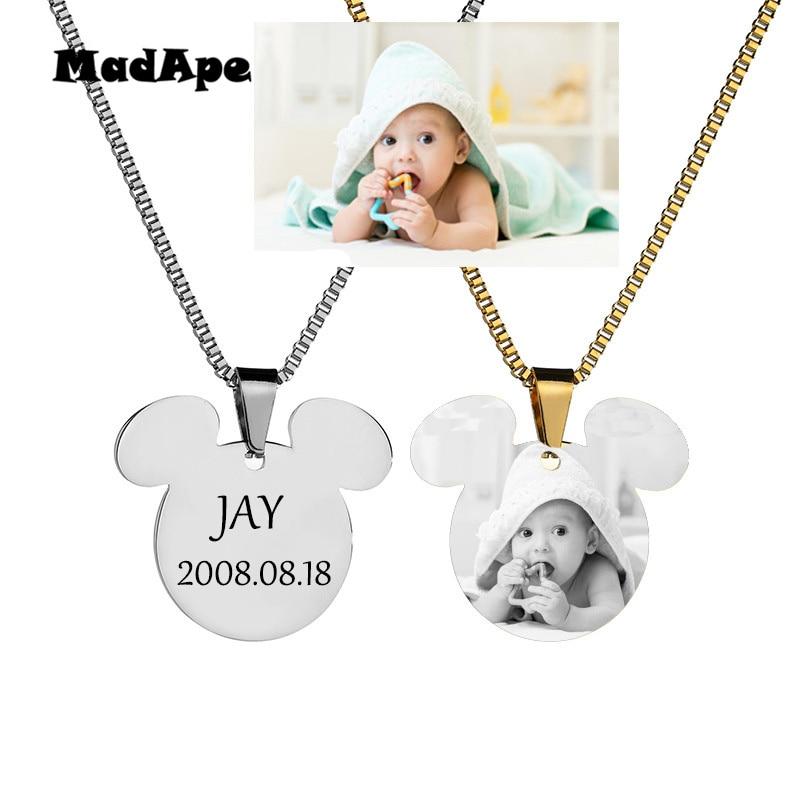 Ожерелье MadApe с именем на заказ, цепочка с подвеской с гравировкой фото, буквой и датой, ожерелье из нержавеющей стали с принтом для детей