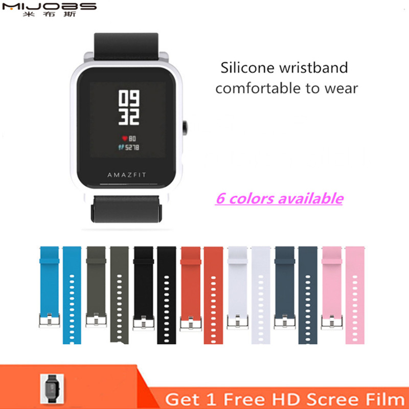 Mijobs 20mm Sports Silicone Wrist Strap For Xiaomi Huami Amazfit Bip BIT PACE Lite Youth Smart Watch Replacement Band Smartwatch